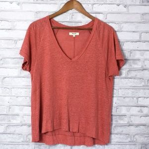 Madewell Linen Coral Swingline Burnout Tee Small